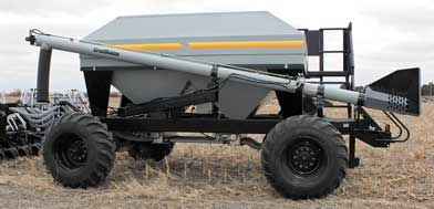 350 Bushel two compartment four wheel steer cart